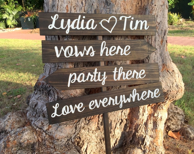 Wedding gift, Wedding Rustic Decor, Vows Here Party There Love Everywhere Beach Wedding Sign, Wood yard decor