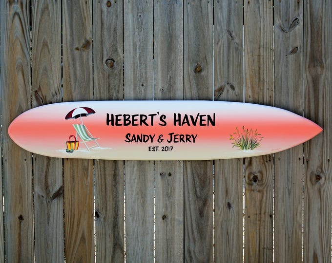 Personalized Lake house sign. Surfboard New Home housewarming gift. Beach house decor