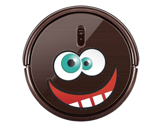 Crazy Funny face sticker decal for Robot Vacuum cleaner. Custom Personalized