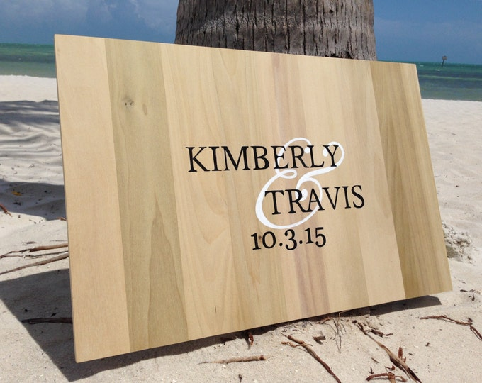 Wedding Guestbook wood, Guest book alternative, gift for couple signature book for wedding. Comes with pen!