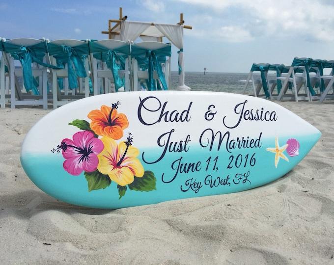 Wood wedding Sign, Beach Wedding Decor, Hawaiian Wedding, Hibiscus Just Married Sign, Surfboard Decor