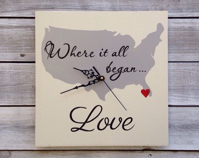 Wedding gift idea, Gift for him. Where it all Began Map, Wedding Wall Clock , Unique  State Map Sign,  Hand made wooden Wall Clock.