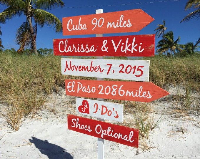 Gift for family, Beach Wedding Decor, Directional Wooden sign Shoes Optional I Do's, Coral signage for Wedding Gift. Wood yard decor