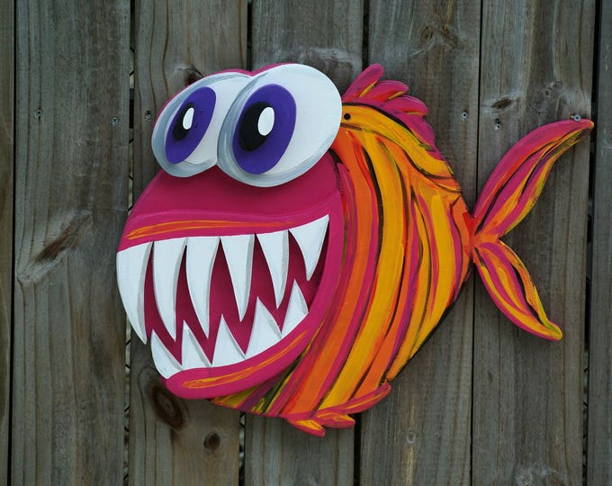 Christmas gift for family, UNIQUE Gift Idea 3D Angler Fish Wood Sign, Large Outdoor Wall Art Decor, Funny housewarming gift, Pool Deck Decor