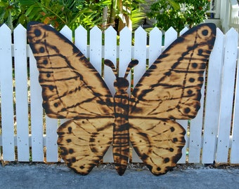 Gift for mom, Large Wood Burning Sign, Butterfly Decor, Wooden Butterfly Wall Art, Housewarming Family Gift Idea, Yard decoration sign