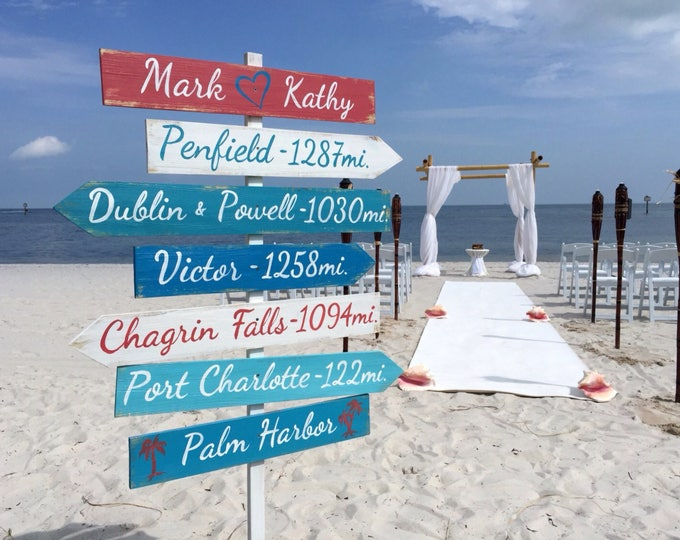 Wood Directional Rustic Sign, Nautical Arrow Signage for Wedding, Beach Ceremony Wood Destination Location Sign, Wedding gift idea.