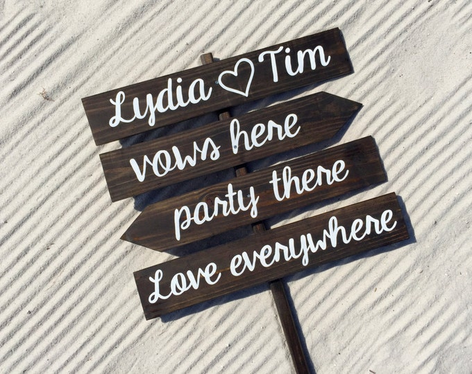 Wedding Rustic Decor, Vows Here Party There Love Everywhere Beach Wedding Sign