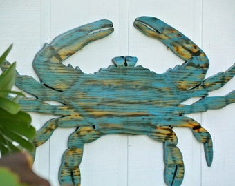 Large Blue Crab Wood Beach House Decor, Wooden Crab wall Art, Beach House wall sign. Housewarming Gift idea