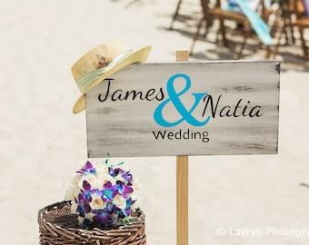 Newlywed Gift Beach Wedding Decor, Name Wedding Beach Sign, Rustic wooden wedding sign