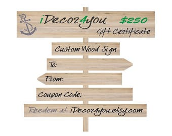 iDecor4you Certificate Gift. Custom Wooden Sign Gift Certificate, Printabe Holiday Gifts Card for Her, Gifts for Co-Workers