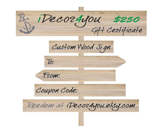 iDecor4you Christmas Gift. Custom Wooden Sign Gift Certificate, Printabe Holiday Gifts Card for Her, Gifts for Co-Workers