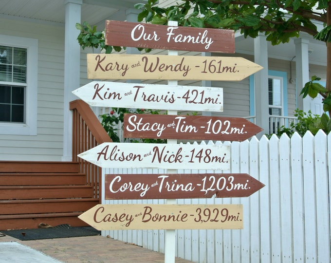 Gift for family. Our Family wood directional sign. Holiday Gift. Destination mileage signage. Housewarming gift idea. Yard decoration sign