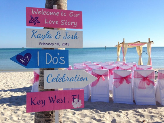 Welcome To Our Wedding Beach Ceremony Decor, Pink and White Directional Wedding Sign, I Do's Shoes Optional