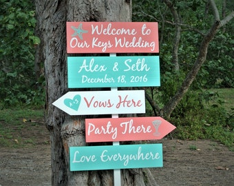 Newlywed Gift Welcome wedding sign wood. Beach decor. Vows Here. Party There. Love everywhere wooden sign