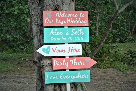 Welcome destination sign wood. Beach wedding decor. Vows Here. Party There. Love everywhere wooden sign