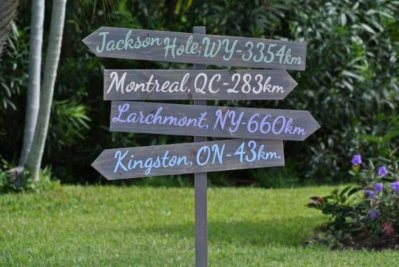 Christmas Family sign, Rustic Wooden Garden Decor, Wood Beach Directional Sign, Decoration Mileage Sign post, Unique housewarming gift