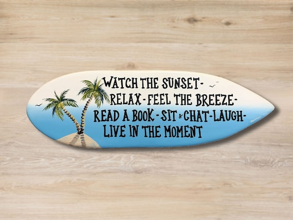 Beach House wood surfboard decor. Friends gift. Tropical wall art sign.