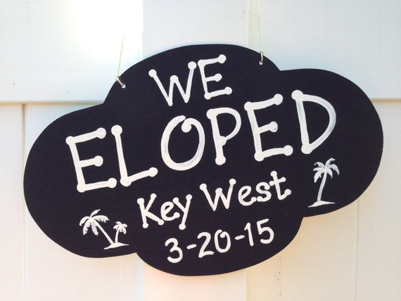 We Eloped Rustic Wedding Sign, Palm Tree Beach Wedding Decor