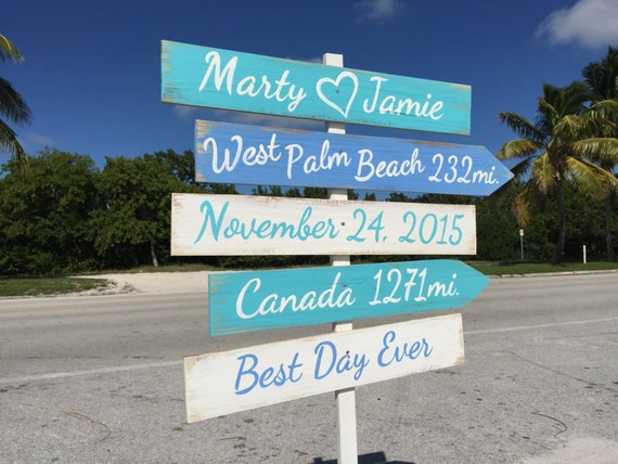 Beach wedding direction Sign. Nautical Wedding Decor. Gift for couple. Best Day Ever signage