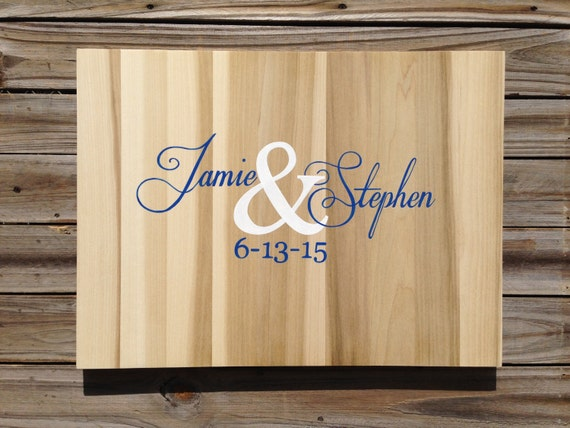 Newlywed Christmas Gift Wedding Guest book Wood Sign, Rustic Guestbook With Decorative Pen