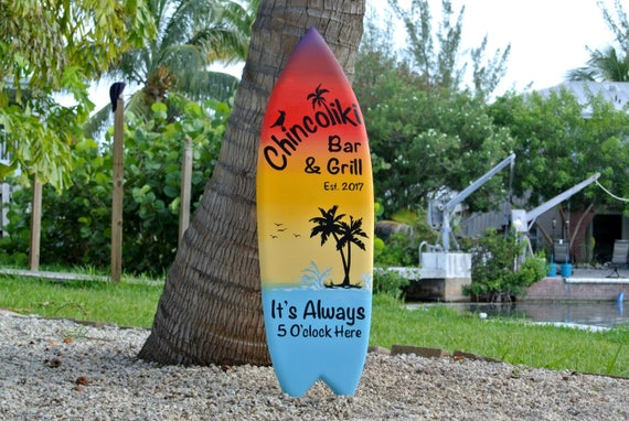 Christmas Bar and grill Family Oasis wooden surfboard decor. Beach house sign, It Always 5 O'clock here. Gift for new home