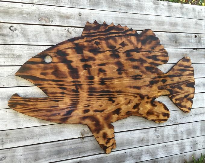 Large Outdoor Wall Art Fish Decor, Coastal Fish Sign, Goliath Grouper Wood Sign Outdoor, Fisherman's gift, Man Cave decora
