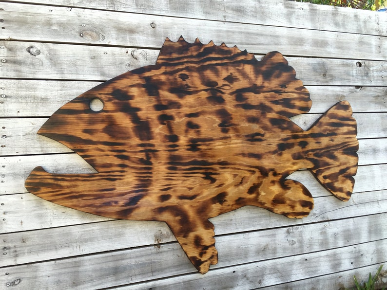 Gift For Parents Large Outdoor Wall Art Fish Decor Coastal Fish Sign Goliath Grouper Wood Sign Outdoor Fisherman S Gift Man Cave Decor