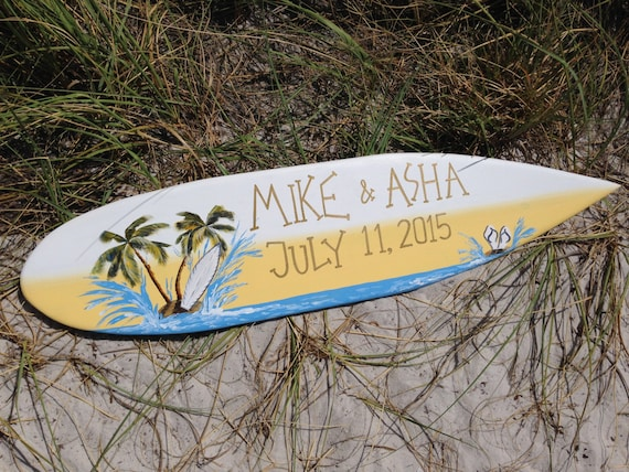 Wedding Decor Personalized Surfboard Sign, Tropical Wedding Gift for Couple.