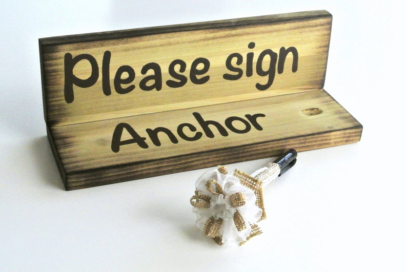 Wood Pen Holder Set Guest book Rustic wedding decor image 0
