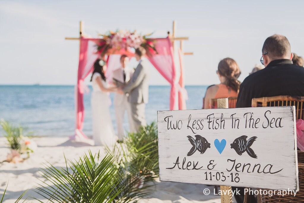 Beach Wedding Sign Two Less Fish In The Sea Wooden Signage Fish