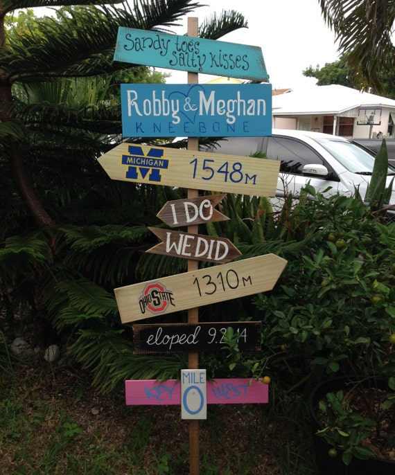 Rustic Wooden Directional Wedding Sign, Beach Wedding Decor, Beach House Decoration, Gift for couple idea