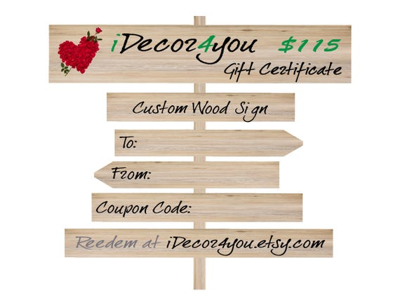 iDecor4you Holiday Gift Certificate for Custom Wood Sign, Printable Card for Her, Gifts for him, Last Minute Gift idea