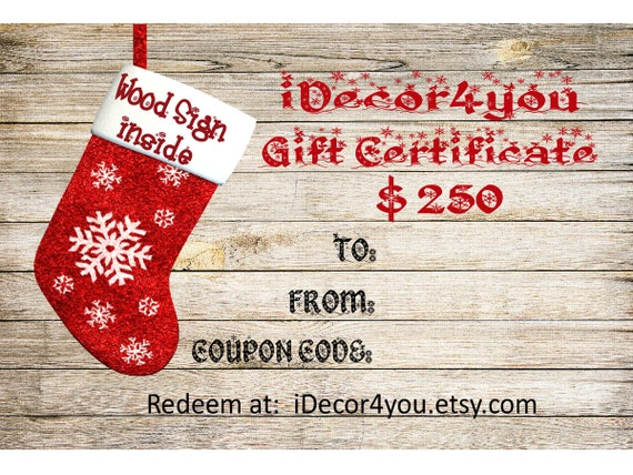 Gift card for iDecor4you shop  Gift Certificate for Custom Wood Sign. Card for Her, Gifts for Co-Workers, Easy Christmas Cards Printable