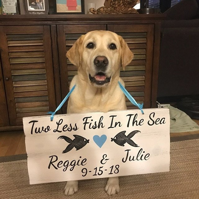 Beach Wedding Decor Wood Sign Two Less Fish In The Sea Gift For