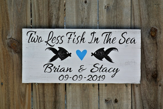 Beach wedding decor. Tropical wedding gift for couple. Two Less Fish in The Sea