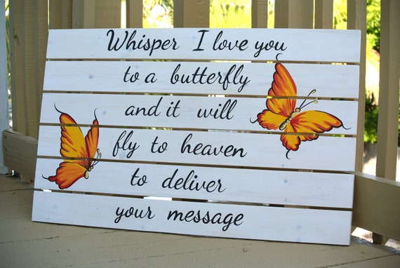 "Whisper I love you to a butterfly wall art 24"" x 16"" Printable DIGITAL FILE. Poster painting. Mothers day Last minute gift"