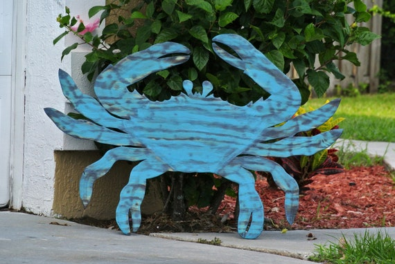 Blue Crab wall art. Relax Beach House decor. Wood crab sign for New Home Gift.