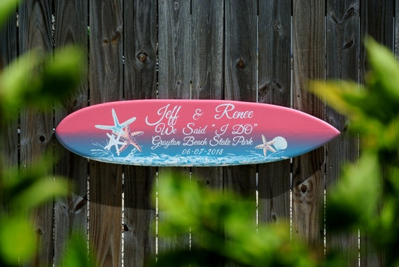 Luxury wedding surfboard sign wood. Tropical beach wedding decor. Royal wedding gift for couple.