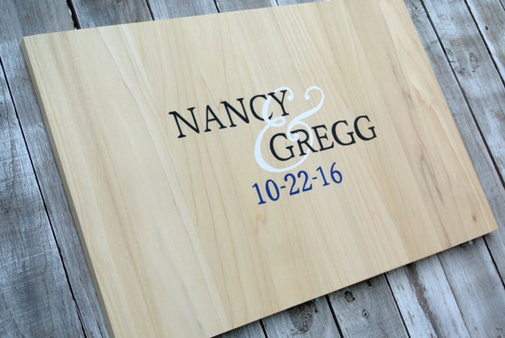 Newlywed Christmas Gift Wedding Guest book idea Rustic Guestbook Alternative Wood Sign wedding guestbook gift. Comes with matching pen!