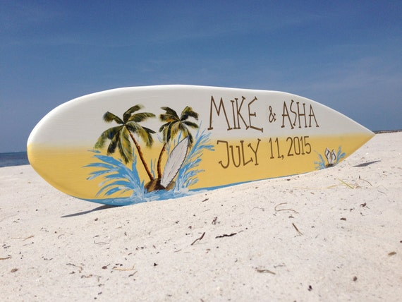 Beach wedding sign. Surfboard with names gift for couples. Tropical wedding sign.