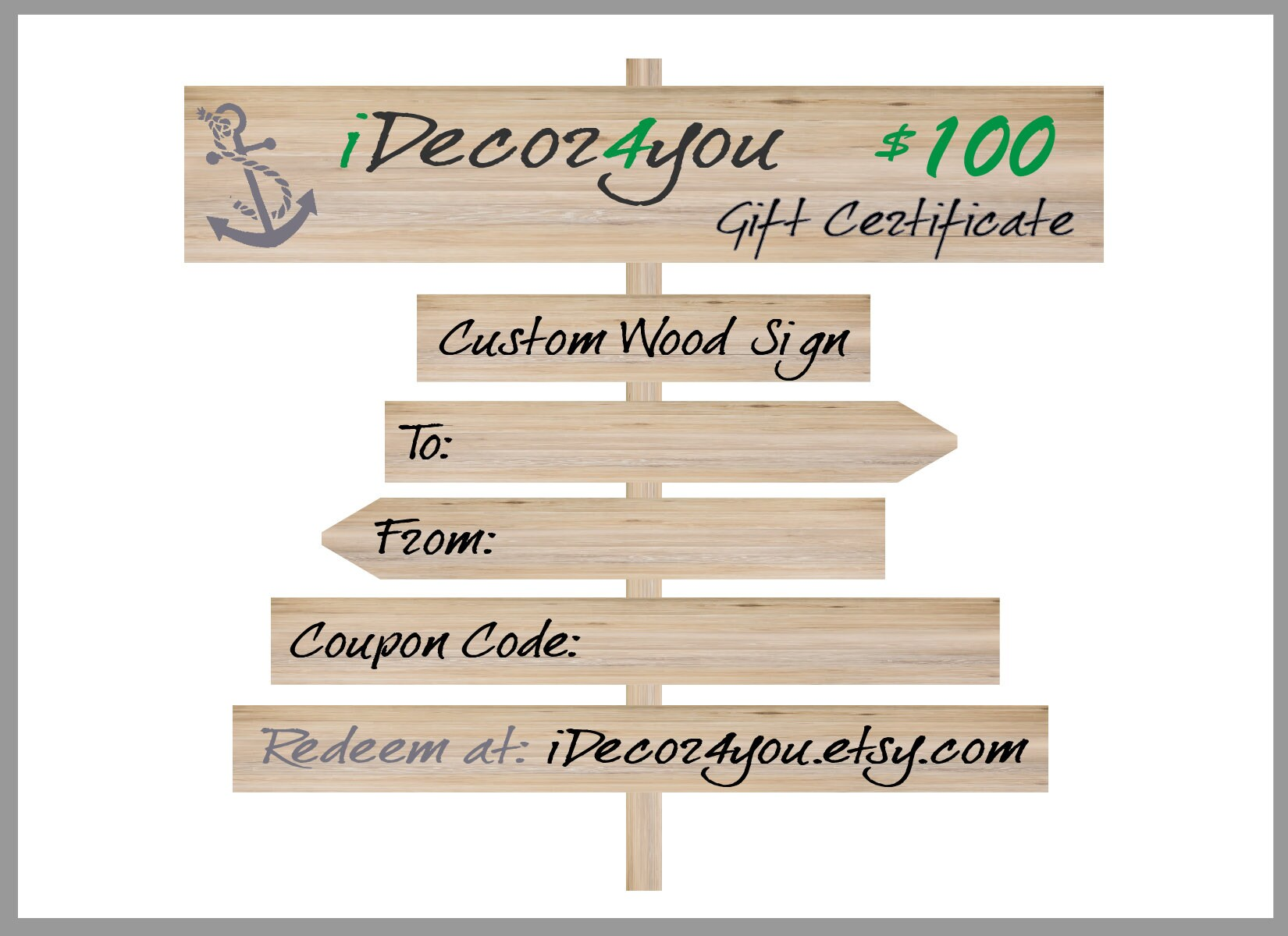 Last Minute Gift Certificate For Custom Wood Sign Gift Card
