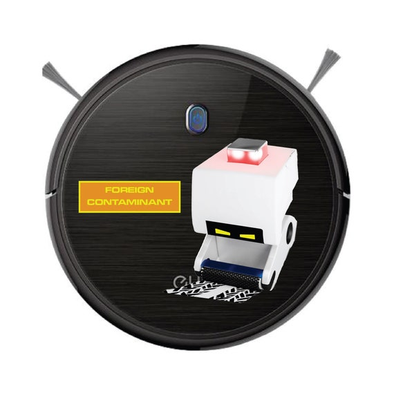 Foreign Contaminant M-O sticker for Robot Vacuum cleaner. Washable Laminated sticker.
