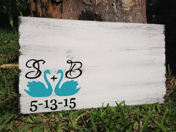Swan Wedding Guest Book Sign, Rustic Guestbook Alternative with Decorative Pen, Turquoise Wedding Decor