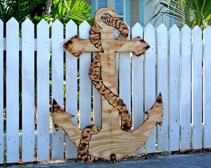 Large Wood Anchor sign.  Patio decor idea. Outdoor Anchor Housewarming gift. Family Oasis sign.