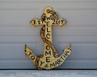Welcome Family Anchor Wood Sign, Outdoor Natural Wooden Anchor Beach House Decor, Father's Day Custom family name sign.