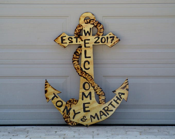 Welcome Family Anchor Wood Sign, Outdoor Natural Wooden Anchor Beach House Decor, Custom family name sign.