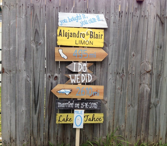 Gift for parents. Directional Rustic Wedding Sign, Wood Wedding Ceremony Decor, I Do We Did unique wedding gift. Yard decoration