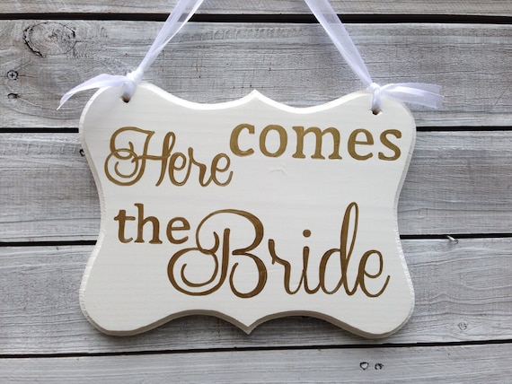 Ring Bearer Sign, Here Comes The Bride, Mr and Mrs Sign, Cottage Chic Wedding Decor