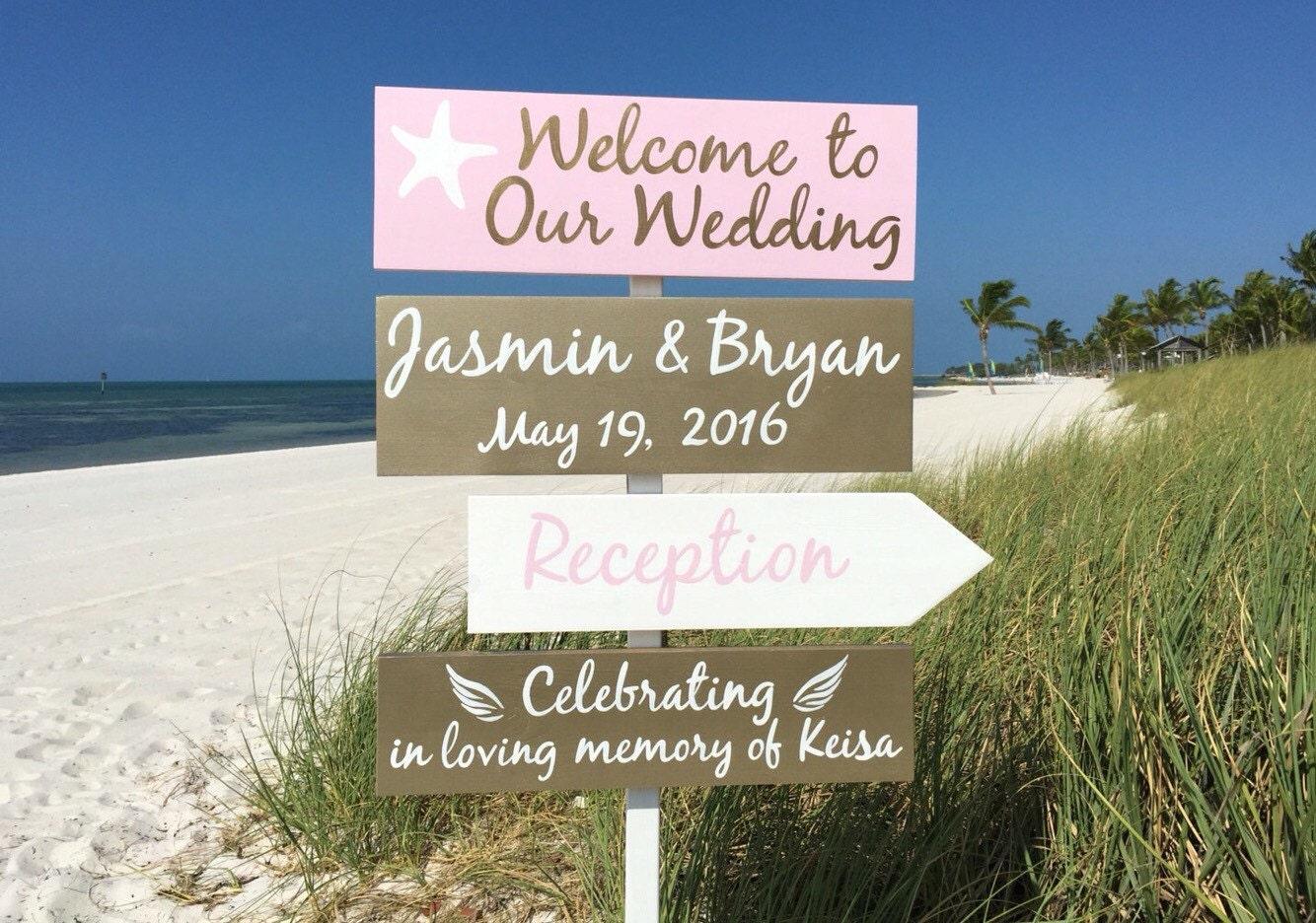 Rose Gold Wedding Decor Beach Welcome Wedding Sign Starfish Gold