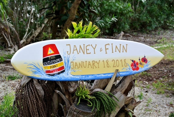 Key West Wedding Surfboard Sign, Newlywed Gift Idea for Couple, Southernmost point Key West